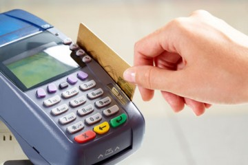 Close-up of moment of payment by credit card